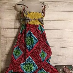 Anthropologie red and blue summer dress